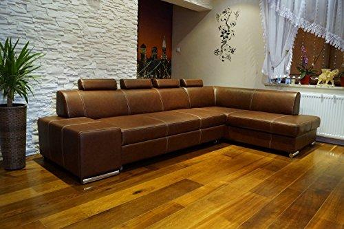 Quattro Meble Echtleder Ecksofa London II 4z 300 x 185 Sofa Couch mit Schlaffunktion, Bettkasten und Kopfstützen Glatt Echt Leder Sauvage Cognac Eck Couch Ledersofa große Farbauswahl