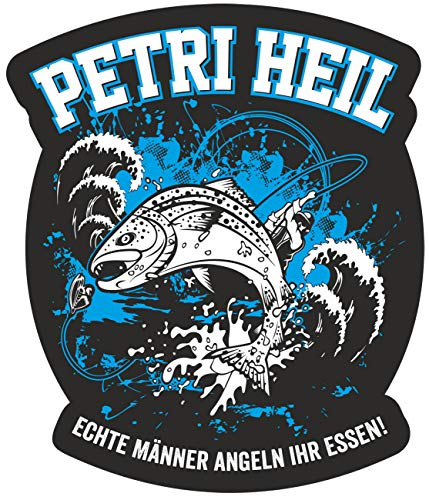 Wetterfester Aufkleber Petri Heil 11 cm oder 40 cm Angler Angeln Fische Geschenk