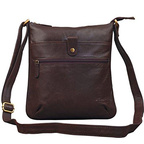 STILORD 'Lina' Elegante Vintage Damen Umhängetasche Schultertasche klein Abendtasche Klassische Handtasche 10.1 Zoll Tablettasche echtes Leder, Farbe:schokoladen - braun
