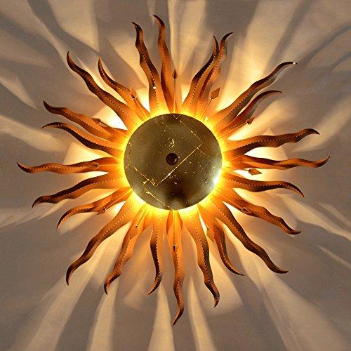 s.LUCE Wandleuchte Diator L geschmiedete Sonne rost gold Wandlampe mit Lichteffekt Deckenleuchte Sonnenlampe Flur Schlafzimmerlampe indirekte Beleuchtung Kinderzimmerleuchte