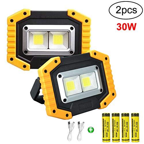 longdafei 2er-Pack tragbares LED-Arbeitslicht, wiederaufladbare Scheinwerfer mit USB, wasserdichter Außenscheinwerfer für die Autoreparatur, Camping, Reisen, Angeln und Beleuchtung auf Baustellen