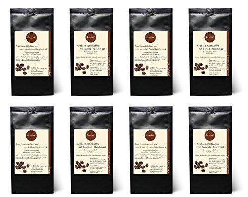 Kaffee Geschenkset - 8 x Kaffee mit Geschmack als Kaffee Probierset - Haselnuss, Vanille, Mandel Zimt, Eierlikör, Toffee, Orange, Schokolade, Amaretto -Geschmack - Arabica Röstkaffee mit Aroma - gemahlen - 8 x 75 g (600 g insgesamt)
