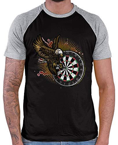 HARIZ Herren Baseball Shirt Dart Adler Bullseyes Dart Sprüche Männer Weltmeisterschaft Plus Geschenkkarten Black/Grey Melange S