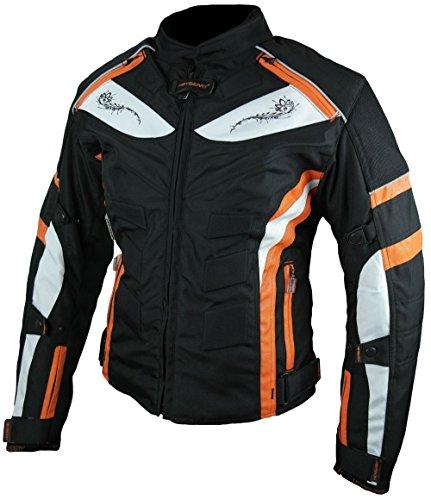 HEYBERRY Damen Motorrad Jacke Motorradjacke Textil Schwarz Orange Gr. XL / 42