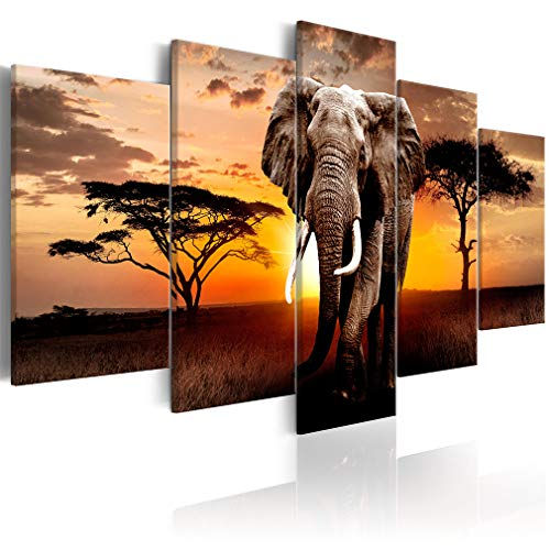 decomonkey Bilder Afrika Tiere 200x100 cm 5 Teilig Leinwandbilder Bild auf Leinwand Wandbild Kunstdruck Wanddeko Wand Wohnzimmer Wanddekoration Deko Elefant Landschaft Sonnenuntergang