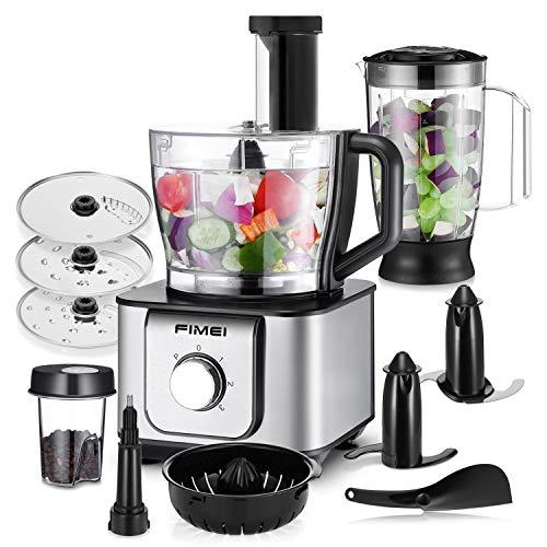 FIMEI Küchenmaschine multifunktional, 1100W, 3 Geschwindigkeiten, 11 in 1, Elektrischer Zerkleinerer, Standmixer, Zitrusspresse, Kaffeemühle, 3.2L Rührschüssel, 1.5L Mixbecher (Küchenmaschine)