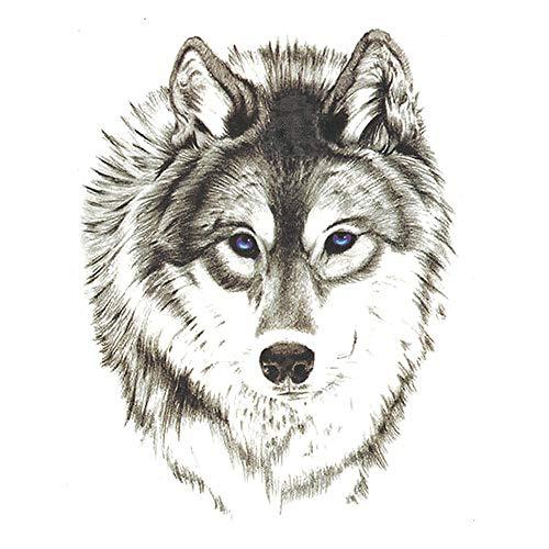 adgkitb 5 stücke Wolf Tattoo Aufkleber Wasserdicht Temporäre Tätowierung Große Tiere Arm Zurück Brust Bein Jungen Männer Frauen Kunst ST133 15X11 cm