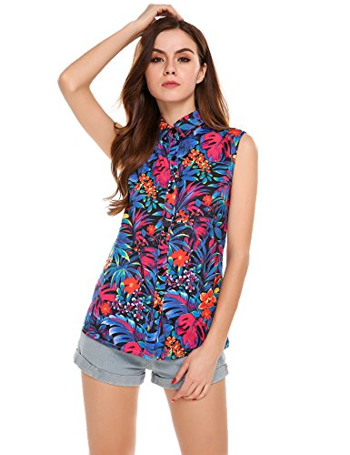 Meaneor Tops Damen Hawaii Bluse Strand Oberteil Sommer Armlos Shirt für Urlaub in 4 Farbe Blumen Freizeit Aloha Hawaii Blusen mit elastischem Material Funky Hawaiihemd Übergroßes Shirt XXXL