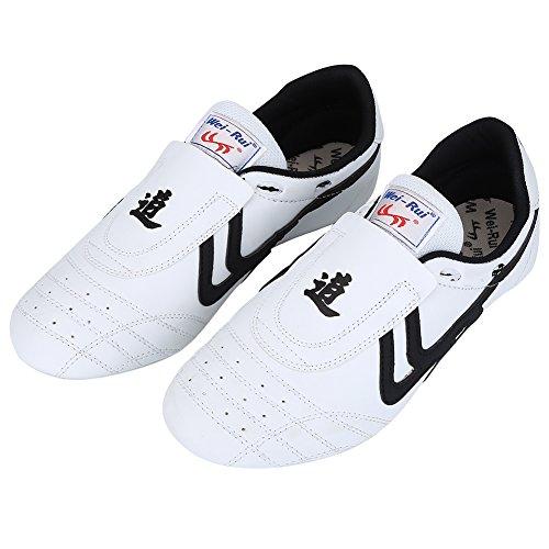 Alomejor Taekwondo Schuhe Kampfkunst Sneaker Boxen Karate Kung Fu Tai Chi Schuhe Schwarze Streifen Turnschuhe leichte Schuhe(39)