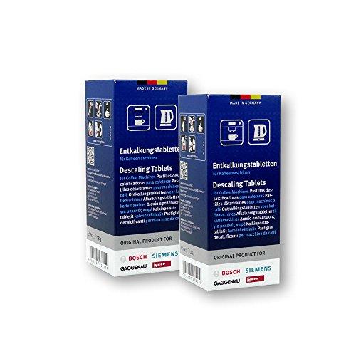 Bosch Entkalkungstabletten für Kaffeevollautomaten, Kaffeemaschinen und Wasserkocher, 2er Pack, 2 x 6 Tabletten