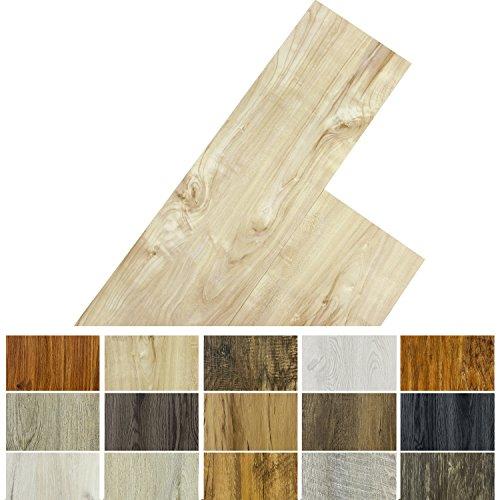 STILISTA Vinyl Laminat Dielen, 15 Dekors wählbar, 5,07m² oder 20m², rutschfest, wasserfest, schwer entflammbar - 20m² Kampferholz creme