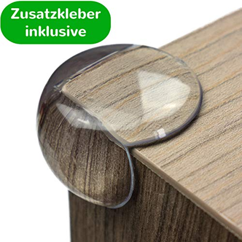 maliveo Eckenschutz und Kantenschutz - transparent aus Kunststoff für Tisch- und Möbel-Ecken - Stoßschutz für Baby's und Kinder (12 Stück, Rund)