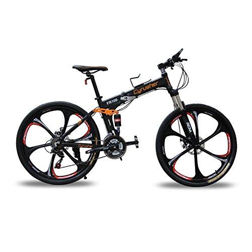 Mountainbikes Klappräder doppelte Federung Mann Fahrräder matt-schwarz Shimano M310 ALTUS 24 Geschwindigkeiten 17 Zoll * 26 Zoll Aluminium-Rahmen-Fahrräder Scheibenbremsen Cyrusher aktualisiert neu FR100