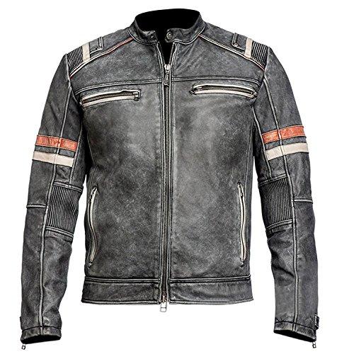 Herren Vintage Motorrad Cafe Racer Retro Moto Distressed Lederjacke (XL)