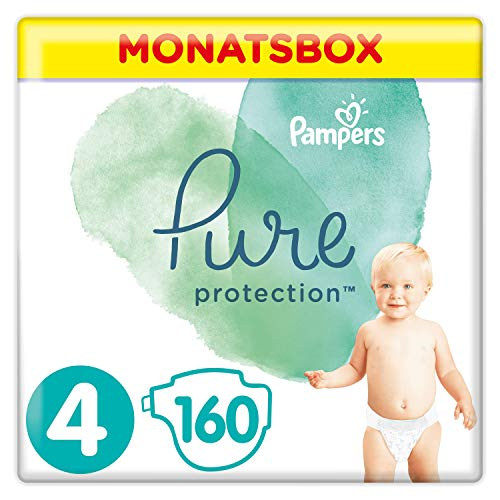 Pampers Pure Protection Windeln, Gr. 4, 9kg-14kg, Monatsbox (1 x 160 Windeln)
