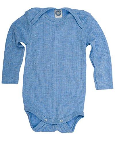 Cosilana, Baby Body Langarm,45% KBA Baumwolle, 35% kbT Wolle, 20% Seide (62/68, Blau meliert)