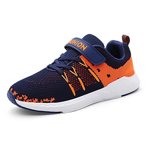 Unpowlink Kinder Schuhe Sportschuhe Ultraleicht Atmungsaktiv Turnschuhe Klettverschluss Low-Top Sneakers Laufen Schuhe Laufschuhe für Mädchen Jungen 28-37, Blau, 34 EU