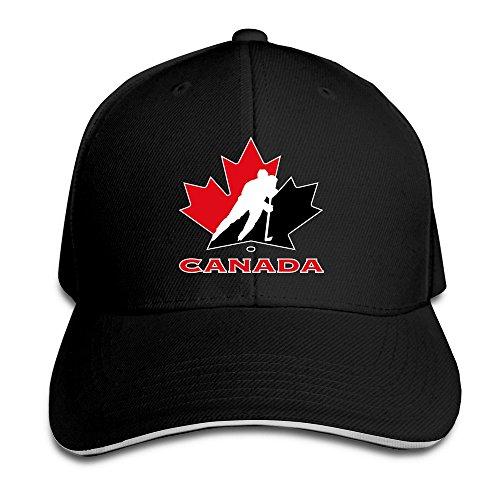 Youaini Unisex Canada National Ice Hockey Team Logo Adjustable Peaked Baseball Caps Hats Black