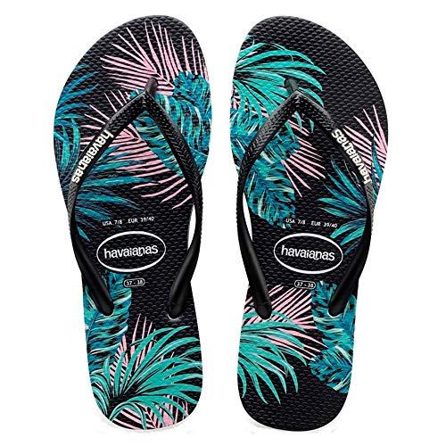 Havaianas Slim Tropical Damen Sandalen Schwarz