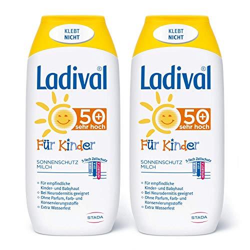 Ladival Kinder 2 x Sonnenmilch LSF 50+ Parfümfreie Sonnenschutzlotion für Kinder ohne Farb und Konservierungsstoffe wasserfest 2 x 200 ml, keine, 400 milliliter