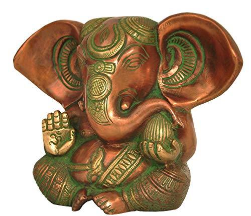 Alterras - Figur: Baby Ganesha verkupfert grün (HxBxT: 13x16x8cm)