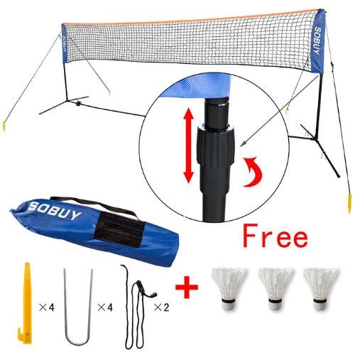 SoBuy® Höhenverstellbar, Federballnetz, Badmintonnetz, Minibadmintonnetz,Tennisnetz mit Gestell/Gestänge,mit 3 Federball als Gratis, SFN03(5M Lang)