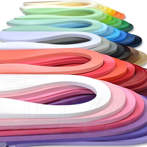 JUYA Papier Quilling Set bis zu 42 Farben eine Farbe und 100 Streifen pro Packung 2/3/5/7/10mm Breite verfügbar(42 Farben, Breite 3mm)