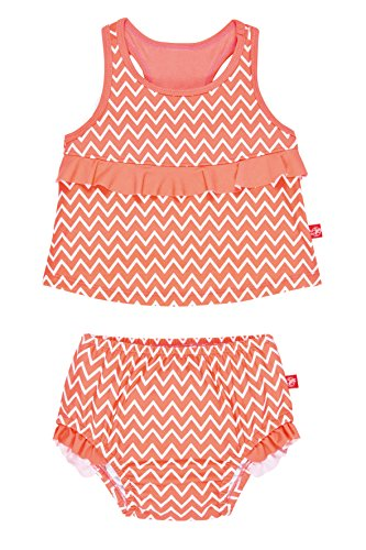 Lässig Splash & Fun 2 piece Tankini / Baby Badeanzug Set girls, XL / 24 Monate, zigzag peach