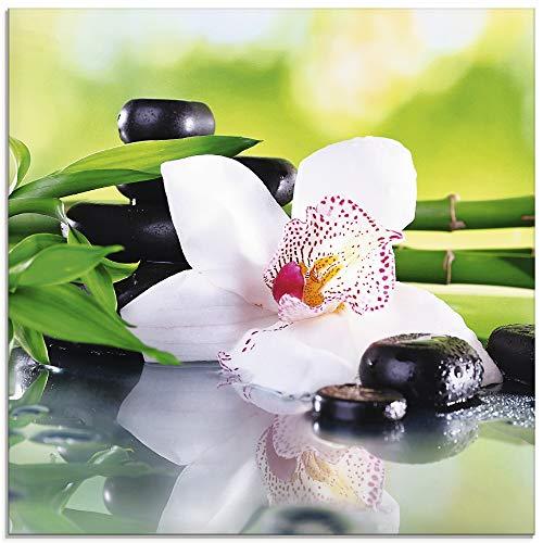 Artland Glasbilder Wandbild Glas Bild einteilig 30x30 cm Quadratisch Asien Wellness Zen Spa Blumen Blüten Orchideen Pflanze Steine Bambus T9IQ