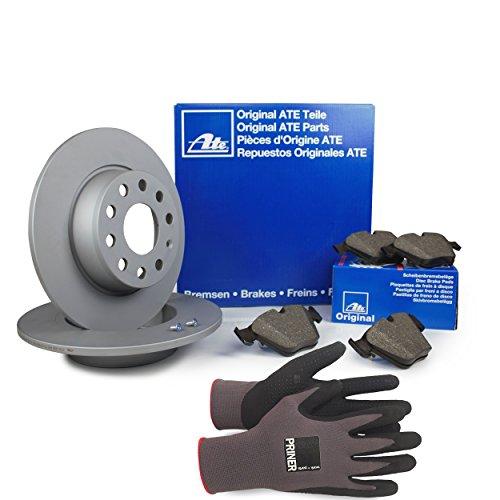 Inspektionspaket ATE Bremsen Set inkl. Bremsscheiben Ø 253 mm und Bremsbeläge für hinten, 100% passend für Ihr Fahrzeug, inkl. Priner Montagehandschuhe, AN154
