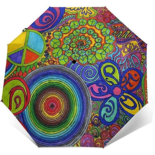Zeichnungen Cap Shaped Bell Printed Windproof Travel Umbrella Automatische Regenschirme-Windproof Verstärkte Baldachin, Auto Open/Close
