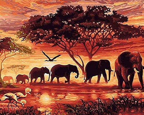 WATAKA DIY Malen Nach Zahlen für Erwachsene und Kinder Vorgedruckt Leinwand-Ölgemälde Kits Home Haus Dekor mit MEHRWEGVerpackung - Sonnenuntergang Elefanten 16 x 20 Inch