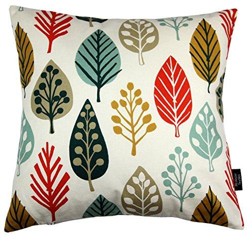 McAlister Textiles Copenhagen Magda | Kissenbezug aus Baumwolle in Terracotta | 40 x 40cm | Kissenhülle mit modernem Blätter-Muster | skandinavische Deko für Sofa, Bett, Couch