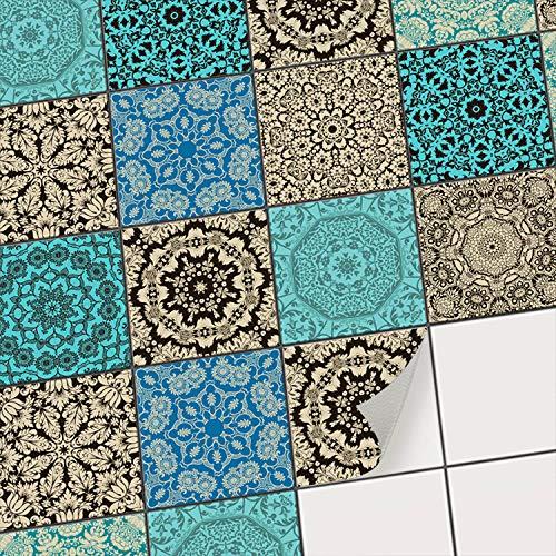 Fliesensticker Dekoraufkleber Mosaikfliesen I Fliesen-Aufkleber Sticker Folie selbstklebend - Küche renovieren Bad Deko Küche - Klebefliesen Fliesendekor I 15x15 cm - Motiv Marrokanisch - 40 Stück