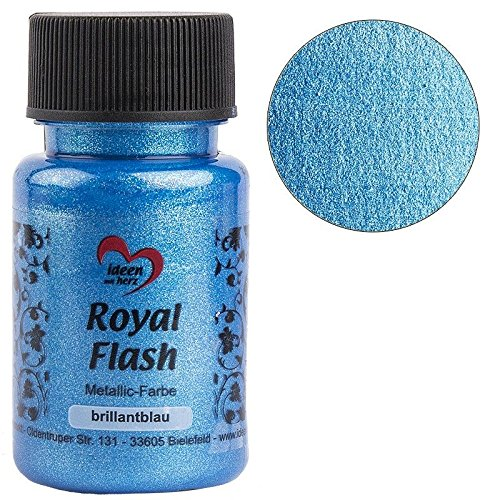 Royal Flash, Acryl-Farbe, metallic, mit feinsten Glitzerpartikeln, 50 ml (brillantblau)