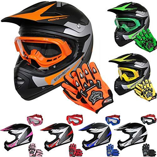 Leopard LEO-X19 Kinder Motocross MX Helm { Motorradhelm + Handschuhe + Brille} Orange M (51-52cm) ECE Genehmigt Crosshelm Kinderquad Off Road Enduro Sport