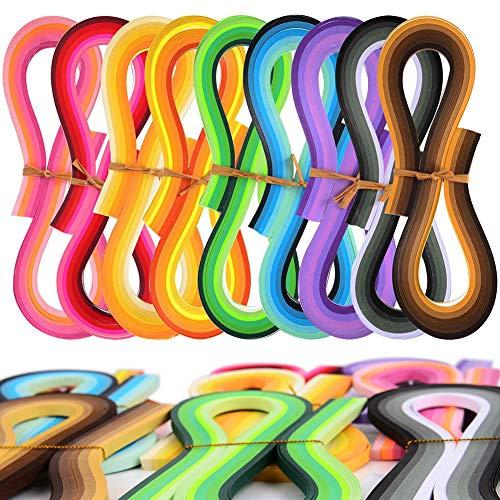 CHEPL Quilling Papier Set 1800PCS Papier Quilling Werkzeug Set Quilling Kunst Streifen DIY Design Zeichnung Handwerk Werkzeug,45 Farben,5 mm Breite und 39 cm Länge
