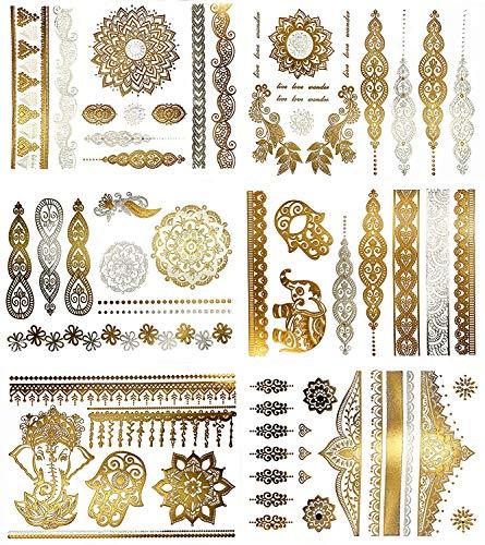 KingSnow Flash Tattoos, Temporäre Tattoos Wasserdicht Metallic Tattoos, 10 Blätter 200 Mustern Goldene Tattoos MetallicTattoos Sticker, Tattoo zum Aufkleben