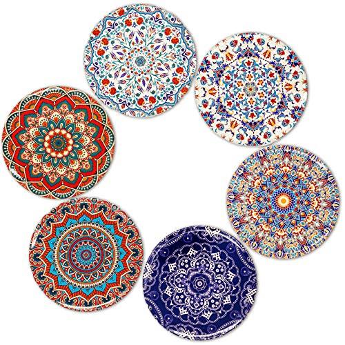 BOHORIA® Premium Design Untersetzer (6er Set) – Dekorative Untersetzer für Glas, Tassen, Vasen, Kerzen auf ihrem Esstisch aus Holz, Glas oder Stein (rund | 9cm) (Marrakech Edition)
