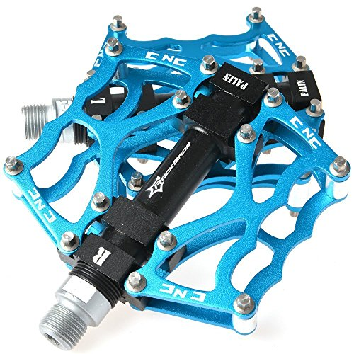RockBros Aluminum Mountain Bike Bicycle Cycling Platform Pedals 9/16 inch (Blau)